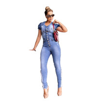 Casual Pleated Denim Ripped Holes Jumpsuit