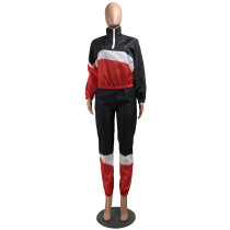 Casual Stitching Sports Two Piece Pant Set