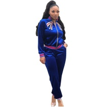 Casual Ribbed Embroidered Two Piece Set
