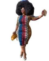 Casual Print Gradient Plus Size Midi Dress