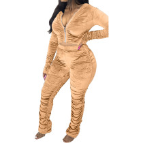 Casual Gold Velvet Pleated Hoodie Top and Stacked Trousers