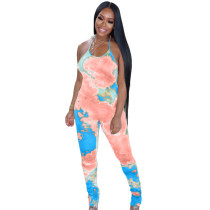 Casual Colorful Print Halterneck Stacked Jumpsuit