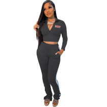 Casual Body Print Two Piece Set