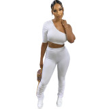 Casual Pit Irregular One Shoulder Crop Top and Stacked Pant