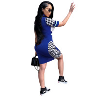 Short Sleeve Stand Collar Print Nightclub Dress
