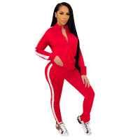 Solid Color High Neck Splicing Sports Two Piece Outfits