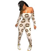 Sexy Off Shoulder Print Jumpsuit