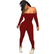 Solid Color Off Shoulder Jumpsuit
