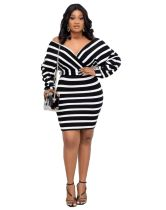 African Striped Stitching V-neck Mini Dress with Belt