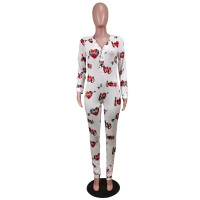Casual Deep V Neck Printed Homewear Jumpsuit