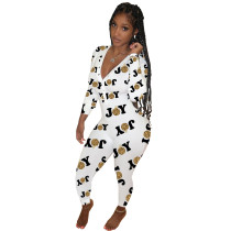 Casual Deep V Neck Printed Homewear Jumpsuit