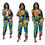 African Catwalk Print Stitching Plus Size Pant Set