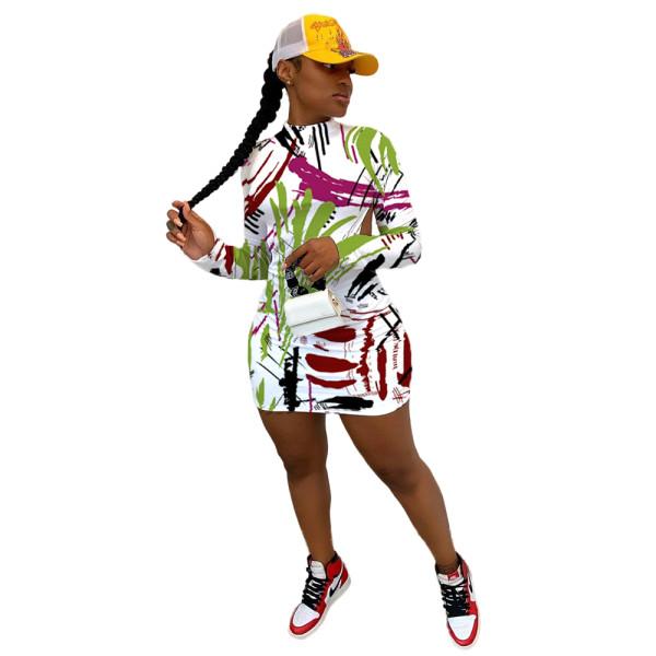 Graffiti Print Backless Sexy Mini Dress