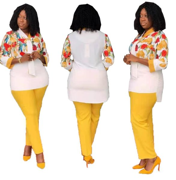 African Buckle Print Plus Size Pant Set