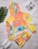 Casual Tie-dye Drawstring Hooded Sweatshirt Pant Set