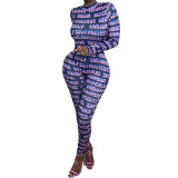 Casual Half-high Collar Contrasting Print Letters Jumpsuit