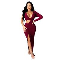 Sexy Deep V Open Split Pleated Long Dress