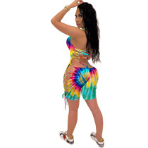 Sexy Halter Tie-Dye Backless Hollow Printed Romper
