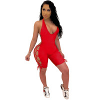 Solid Color Backless Hollow Sexy Romper