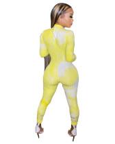 Casual Pit Tie-dye Print Sports Jumpsuit