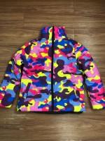 Unisex Zipper Up Camouflage Dyed Padded Down Jacket