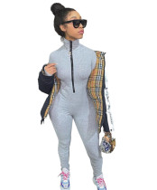 Casual Pit Zipper Pleated Tight Jumpsuit