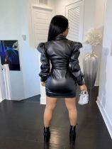 Casual Lapel Puff Sleeve PU Leather Short Dress
