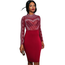 Solid Color Hot Rhinestone Perspective Party Midi Dress