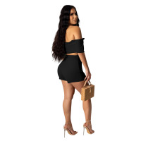 Solid Color Off Shoulder Crop Top and Shorts