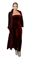 Casual Strapless Jumpsuit with Cardigan Coat