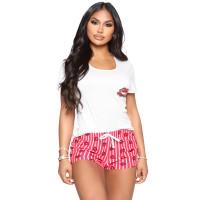 Casual Lip Print Pajamas Short Set