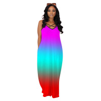 Straps Gradient Tie-dye V Neck Maxi Dress