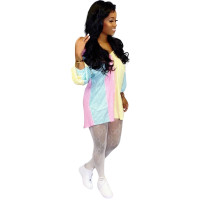 Casual Striped Print Drop Shoulder Stitching Mini Dress