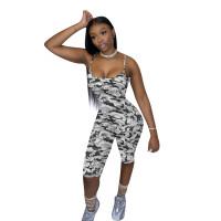 Camouflage Print Straps Jumpsuit