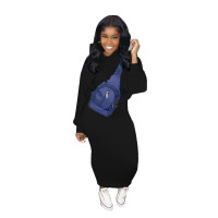 Solid Color Pullover Hooded Sweatshirt and Skirt