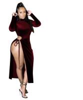Velvet Sexy Hollow Mid Dress