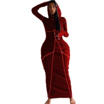 Casual Hoodie Stitching Maxi Dress