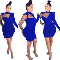 Solid Color High Neck Mini Dress