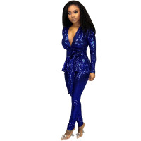 Casual Hot Stamping Two Piece Suit with Belt