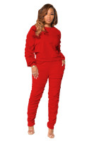 Solid Color Pullover Sweatshirt and Stacked Trousers