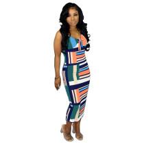 Sexy Sleeveless Sling Striped Mid Dress