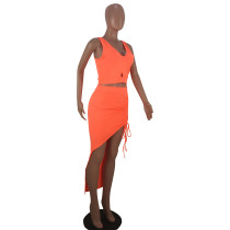Solid Color V Neck Sleeveless Crop To and Skirt Set