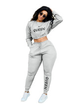 Casual Letter Printed Sports Two Piece Outfits