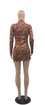 Casual Printed High Neck Mini Dress