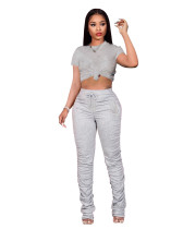Solid Color T-shirt Pleated Pants Set
