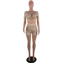 Sexy Nightclub Striped Crop Top and Shorts
