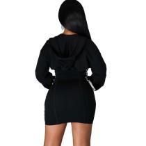Casual Zipper Hoodie Min Dress