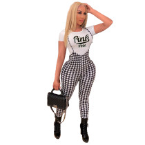 Casual Print Letter Short Sleeve Two Piece Set