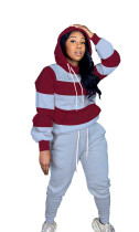Casual Striped Stitching Drawstring Hooded Two Piece Set