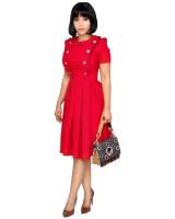 OL Style Ruffle Collar Short Sleeve Pleated Dress